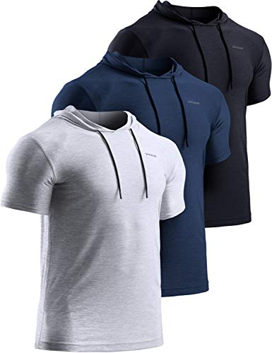 TSLA Men's Short Sleeve Pullover Hoodies, Dry Fit Running Workout Shirts, Athletic Fitness & Gym Shirt, Hoodie 3pack Black/Navy/Light Grey, Large