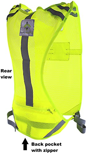 Reflective vest for Running Road Cycling Dog Walking, High Visibility Bike Reflector, Adjustable Safety Gear w/ Bands and Pocket for Men & Women (S-M)