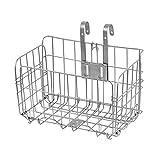URBEST Bike Basket, Foldable Stainless Steel for Front Handlebar Cycling Baskets Detachable (Sliver)