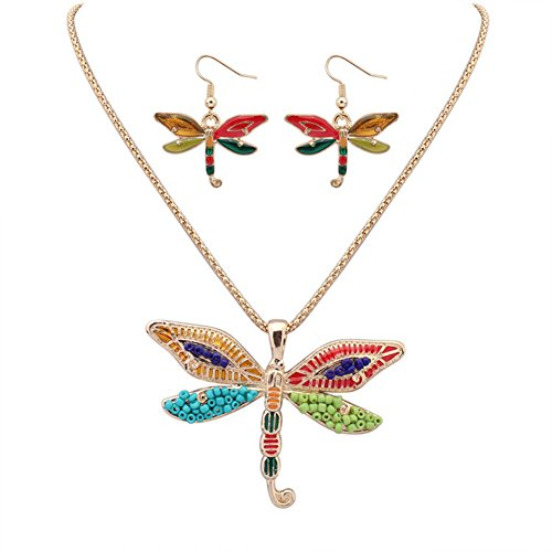 Collar de Mujer BBYaki Colgante de Esmalte Serie Libélula Pendiente Set,Gold
