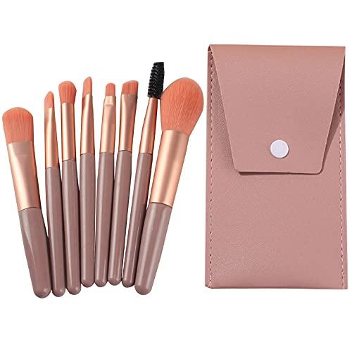 TouGod Juego de 8 brochas de maquillaje profesional portátil de viaje para base de maquillaje, polvos, corrector de colorete y ojos (dark pink)
