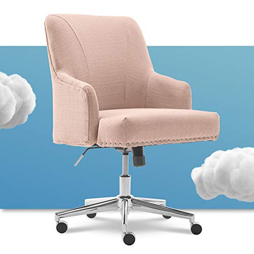 Serta Leighton Home Office Chair with Memory Foam, Height-Adjustable Desk Accent Chair with Chrome-Finished Stainless-Steel Base, Twill Fabric, Blush Pink