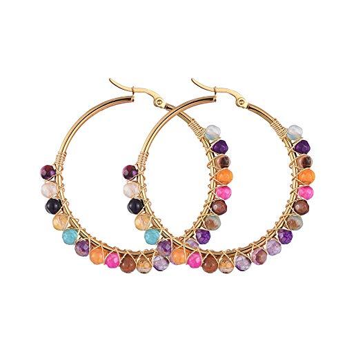 SHEGRACE Pendientes de Aro, con Perlas de ágata Natural, Pendientes de Acero Inoxidable Bañados en Oro, 50 mm