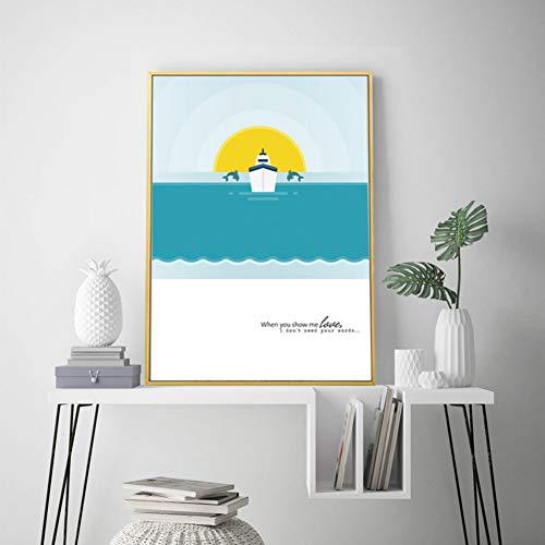 GUDOJK muurschilderij Sweet Love Whale kinderkamer decor canvasdruk schilderijen muurkunst afbeeldingen POP poster kinderkamer wooncultuur 60x80cm(24x32inch)