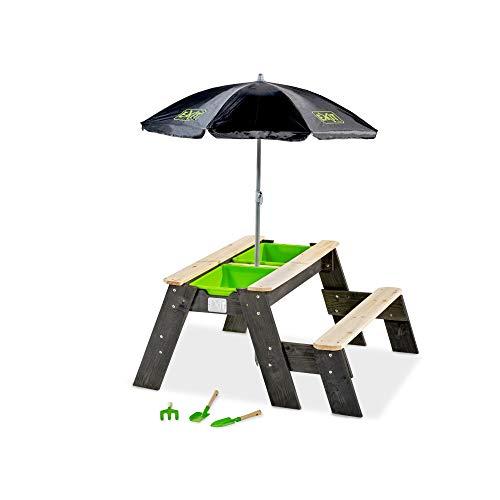 EXIT Aksent Sand,- Wasser- und Picknicktisch (1 Bank) mit Sonnenschirm und Gartenwerkzeugen