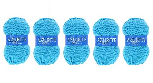 Lot 5 Pelote de laine Azurite 100% Acrylique Tricot Crochet Tricoter - Bleu - 2635