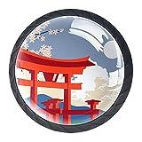 Pomos de cajón hermosos Tokyo Torii Japón redondos tiradores de manija de gabinete de cocina 4 paquetes para armario, aparador, puerta, decoración del hogar