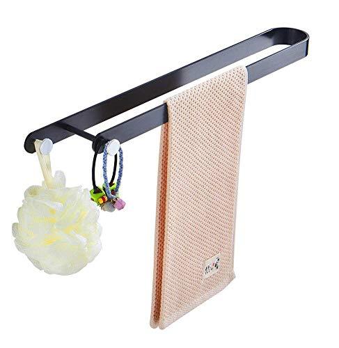 GAXQFEI Rack de Toalla Baño de Pared Rack Black Creative Bathroom Rack Space Cabineta de Aluminio Baño Colgante Toalla Individual Punzón Libre 55 cm,35Cm