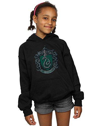 HARRY POTTER Fille Slytherin Distressed Crest Sweat À Capuche 12-13 Years Noir