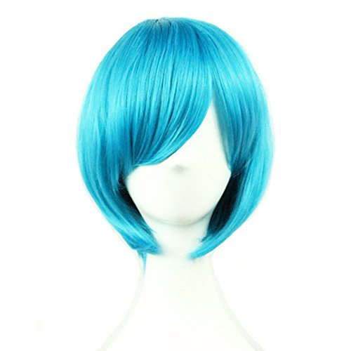 Short Blue Bob Wigs Straight Wigs with Bangs for Women Girls 11 Inch BU029