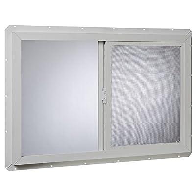 Park Ridge VUSI3624PR Vinyl Utility Slider Insulated Glass Window 36 Inch x 24 Inch, White