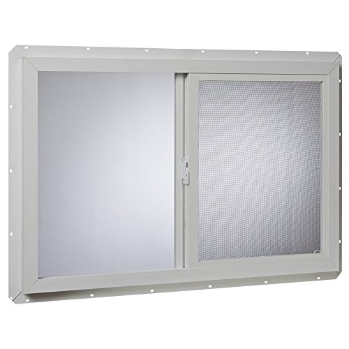 "Park Ridge Products VUS3624PR Park Ridge Slider Glazed Utility Single-Glass Sliding Vinyl Window, 36"" x 24"", White"