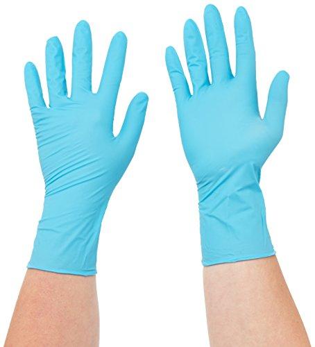 Semperguard 816780633/3000001627 Xpert Einmalschutzhandschuh aus Nitrillatex, puderfrei, Chemikalienspritzschutz, Größe S, 6-7, Grün/Blau (100 er-Pack)