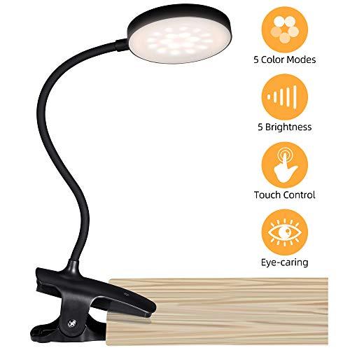 PENDEI Leselampe Bett Klemmleuchte, 36 LED Klemmlampe USB Wiederaufladbar Buchlampe mit 5 Farbtemperatur 5 Helligkeiten 360°Flexible Dimmbare Klemmleuchte Touch-Steuerung für Nachttisch Bett (Schwarz)