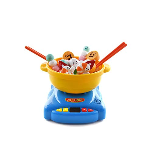 XXHDEE Children's Play House Simulation Kitchen Toy Hot Pot Big Music Bucket Chopsticks Clip Clip Music Set Boys and Girls 3-6 Years Old Toy Gift