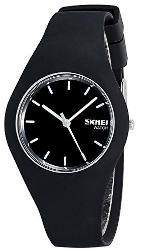 Armbanduhr für Herren oder Damen, Weich Silikon Armband Unisex Uhren (Pink) (Schwarz)