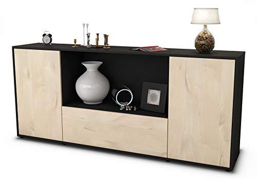 Stil.Zeit Sideboard Ella/Korpus anthrazit matt/Front Holz-Design Zeder (180x79x35cm) Push-to-Open Technik