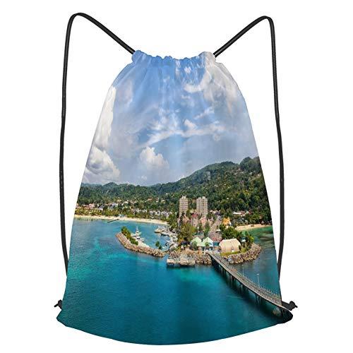 fudin Unisex Wasserdicht Kordelzug Rucksack Panorama des Strandes bei Ocho Rios Jamaica mit Brücke und Blue Sea Place Seaside Turnbeutel Sporttasche für Yoga Freien Schule Strand Schwimmen