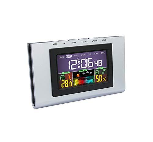 NBWS Digitale wekker, tafelklok/LCD-display met grote nummers, batterijgevoed, Smart Light-automatische en dimbare achtergrondverlichting, temperatuurweergave