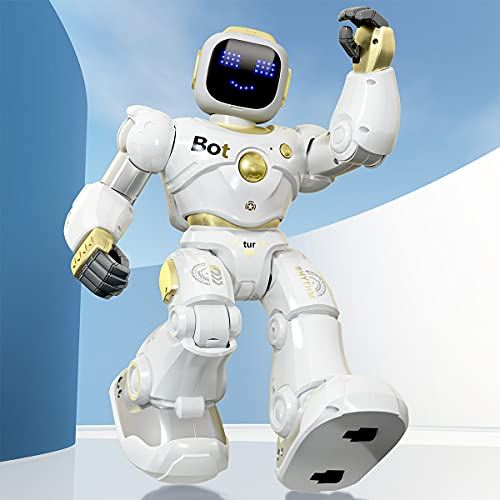 Ruko AI Robots for Kids, Large Programmable RC Robot Toy with APP Control Voice Command Touch Response Bluetooth Speaker Emoji for 3-12 Years Old Boys Girls (Golden)