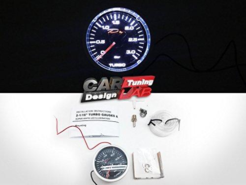D Racing 52mm 5,1cm Mechanische Turbo Boost Gauge Meter 3bar weiß LED