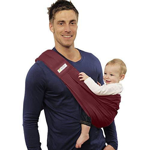 Shhjjpy Babytragetuch Kindertragetuch Babybauchtrage Ring Sling Tragetuch Für Baby Neugeborene Innerhalb 15 KG,Baumwolle,Rot