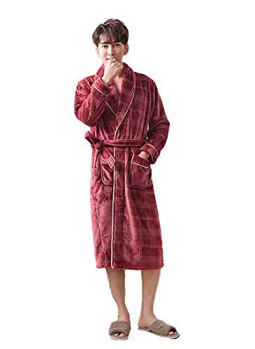 Damaifirstes Casal de camisola masculina, pijama comprido de flanela grossa, roupão de banho feminino quente de veludo coral - Brick Red Man_M