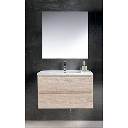 OLIMPO Mueble de baño suspendido Maia con Lavabo y Espejo Liso 60 cm Color Arena