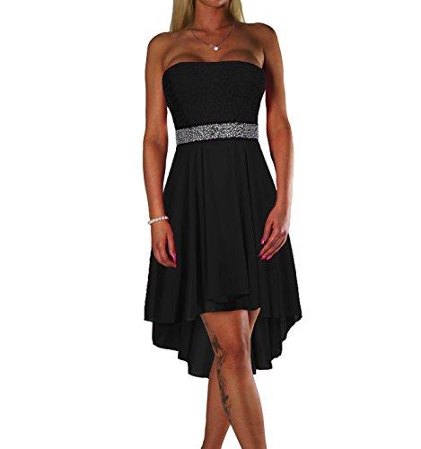 ALZORA Damen Kleid Bandeau Abendkleid Cocktailkleid mit Spitze Partykleid Ballkleid Sommerkleid, 10601 (M, Schwarz)