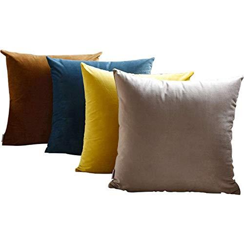 YULO Funda de cojín de terciopelo suave, decorativa, cuadrada, funda de almohada, funda de almohada para sofá o cama, 45 x 45 cm, color fucsia