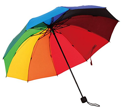 HorBous Triple sombrilla Plegable para Rainy y Sunny Days Paraguas Rainbow 10 Rib Resistente al Viento Marco de Acero 10 Colores Paraguas Tela