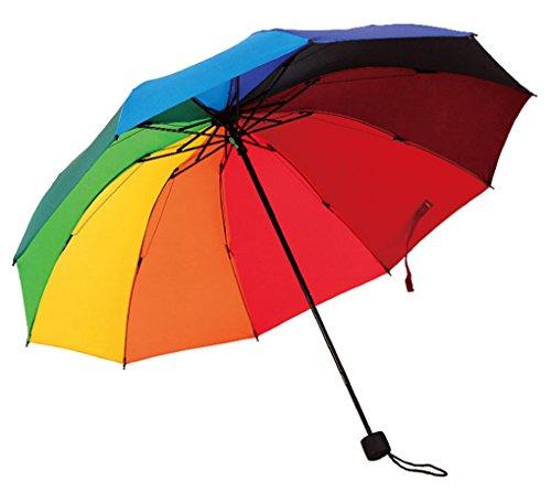 HorBous Dreifacher Klappbarer Regenschirm für regnerische und sonnige Tage Regenbogen Regenschirm...