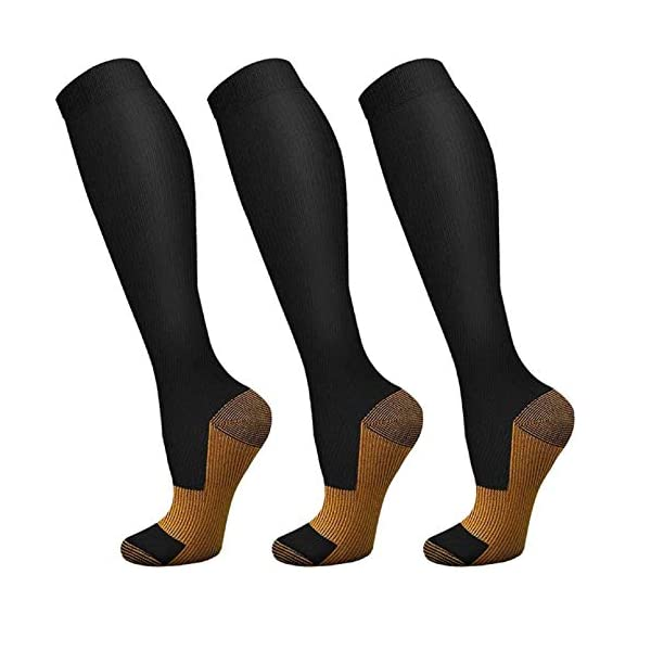 3 Pairs Copper Compression Socks for Men and Women – Casual Compression Socks...