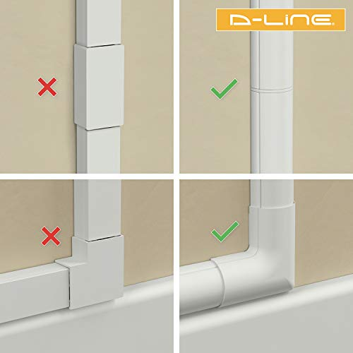 D-Line 157in Cord Cover Kit, Self-Adhesive Wire Hiders, Paintable Cable Raceway to Hide Wires on Wall, Electrical Cable Management - 10x 15.7 Lengths & 19 Accessories - 1.18
