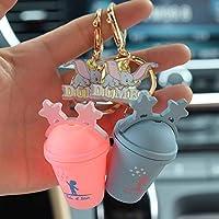 創造的な装飾の2個のキーチェーンティーカップソーダカップソフトキーチェーン スピードへの (Color : Pink)