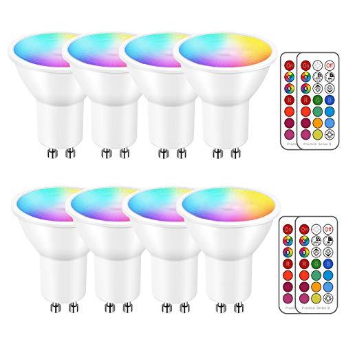 iLC LED Lampadine Faretto GU10 colorate Cambiare colore Lampadina RGB Bianco Dimmerabile Caldo 2700K Equivalenti a 40 W - 5 Watt RGBW Colori - Telecomando Incluso (Confezione da 8)