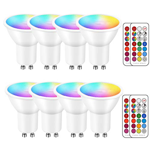 iLC LED GU10 Farbwechsel Lampe, Led Spots Birne Reflektorlampe, 5W Dimmbar Warmweiß (2700K) RGB LED Leuchtmittel, 200 Lumen, Fernbedienung inklusive (8 Stück)