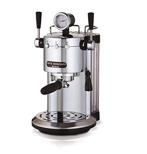 Ariete 1387 1387/20 Kaffeevollautomat Novecento Espresso, Cappuccino, Vano Scalda Becher, 1100 W, 2 Tassen, 15 bar, Chrom, Silber/schwarz, 1150, kilograms