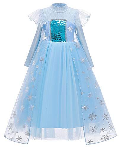 TYHTYM アナと雪の女王 エルサ クリスマス 衣装 子供用 キッズコスチューム 長袖 ハロウィン コスプレ 仮装 発表会 プリンセスドレス ふんわり 着心地よい ワンピース なりきり 子供 女の子 ブルー 仮装 発表会 着心地よい 雪の結晶 (100,