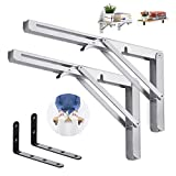 king do way 12inch Folding Shelf Brackets with L Shelf Bracket, Heavy Duty Stainless Steel Collapsible DIY Wall Mounted Shelf Bracket, Max Load 330lb, Space Saving for Table Work Bench -4Pcs