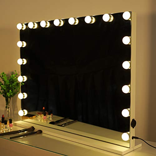 HOMPEN Lighted Vanity Mirror with Light, Lighted Makeup Mirror with 18 LED Dimmable Bulbs-White