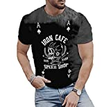 Camiseta de Cuello Redondo con Estampado de Calavera de Poker para Hombre Camiseta de Manga Corta Informal con Estampado A de Skull Poker