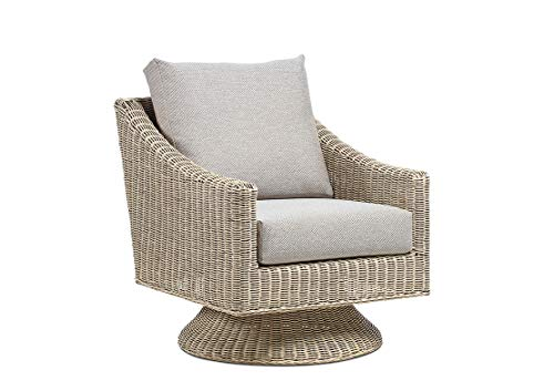 Desser Swivel Chair Living Room Conservatory Furniture – Natural Cane Rattan Armchair with Wicker Weave – 360° Swivel with UK Made Cushions in Texture Beige – H89cm x W71cm x D88cm