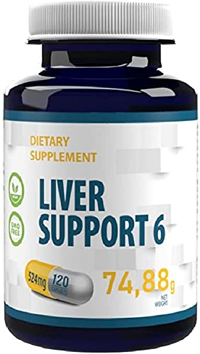 Apoyo al Hígado 6 - Cardo Mariano 80% Silimarina, Cúrcuma, N-Acetil Cisteína, Alcachofa 524mg 120 Cápsulas Veganas, Alta Potencia, Sin Gluten, Sin OGM