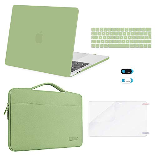 MOSISO Compatible with MacBook Pro 13 inch Case 2016-2020 Release A2338 M1 A2289 A2251 A2159 A1989 A1706 A1708, Plastic Hard Shell Case&Bag&Keyboard Skin&Webcam Cover&Screen Protector, Avocado Green