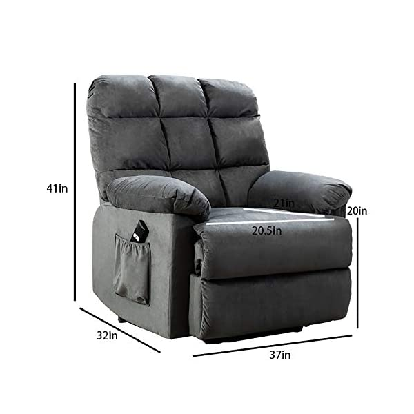 ANJ Power Lift Recliner Chair Safety Motion Reclining Chair for Elderly – Heavy Duty Fabric Overstuffed Sofa for Living…
