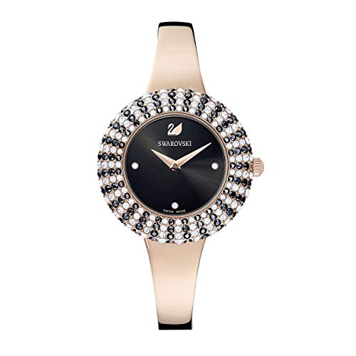 SWAROVSKI Women's Crystal Rose Stainless Steel Quartz Watch with Metal Strap, Black, 3 (Model: 5484050)