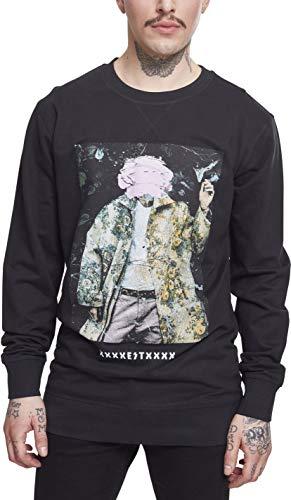 Machine Gun Kelly Herren Pullover MGK Crewneck mit Portrait-Print des Rappers Sweatshirt, schwarz, S