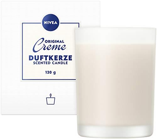 NIVEA Original Creme Duftkerze (120g), schöne Duftkerze im Glas mit der bekannten NIVEA Creme-Note, zart duftende Kerze im Milchglas-Behälter