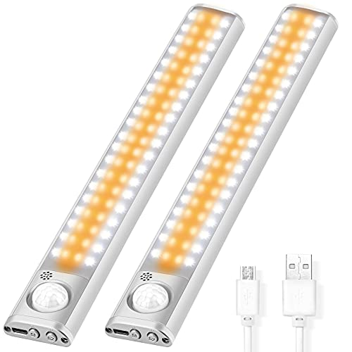 LITAKE Luz de Armario LED, 80LED Luces Armario con Sensor Movimiento, Luz USB Recargable 4 Modos Luz Nocturna para Armarios, Cocina, Escalera, Pasillo, 2 Pack